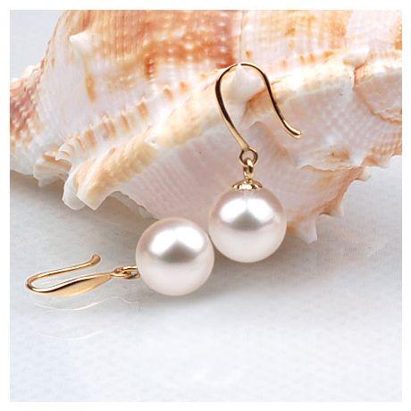 Boucles oreilles forme de crochet - Or jaune et perles blanches Chine