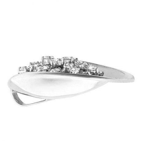 Pendentif or blanc style moderne - Diamants fixés en suspension