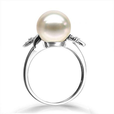 Bague en forme de feuille - Or blanc et perle blanche - Diamants