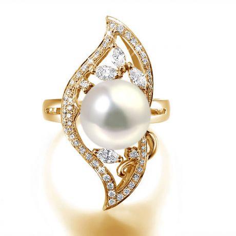Bague végétale or jaune - Perle eau douce blanche de culture, Diamants
