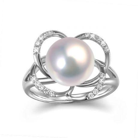 Bague en perle monde floral - Perle de culture or blanc et diamants