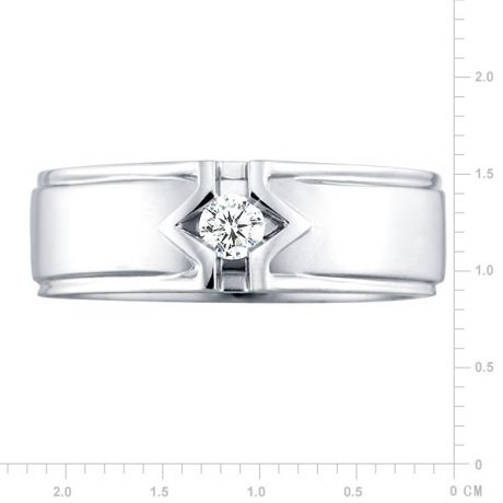 Bague or blanc hommes - Solitaire diamant homme moderne