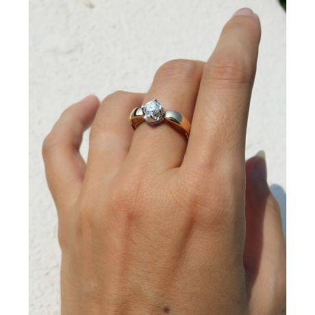 Solitaire anneau bombé - Or blanc et jaune - Couronne diamants 0.58ct