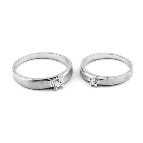 Alliances solitaires or - Alliances Duo - Or blanc - Diamants