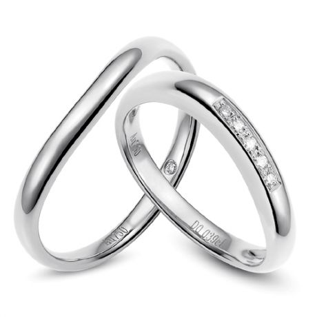 Alliance Femme. Or blanc. Diamants 0.040ct