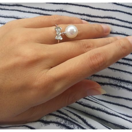 Bague noeud papillon - Or blanc, diamants, perle de culture