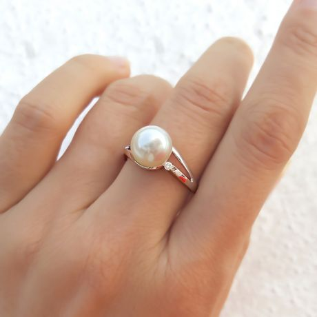 Bague feuille de style or blanc - Perle eau douce blanche, diamants