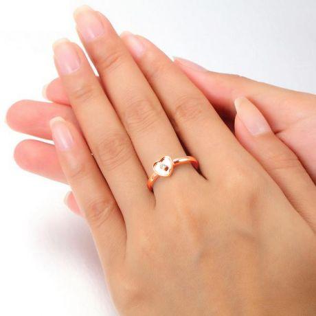 Bague coeur or rose et diamant serti clos