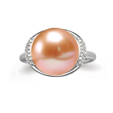 Bague perle de culture rose et or blanc - Plateau circulaire en diamants