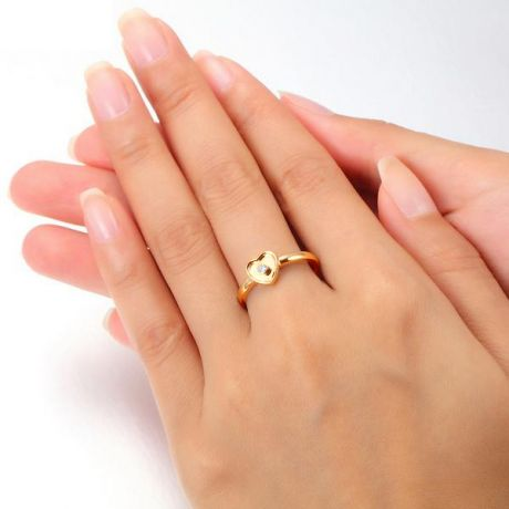 Bague coeur or jaune et diamant serti clos