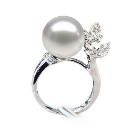 Bague papillons gracieux - Perle d'Australie - Or blanc, diamants