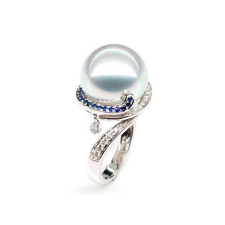Bague de l'Île Bruny - Perle Australie blanche - Diamants, saphirs