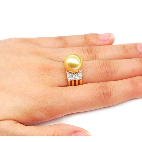 Bague Îles Ashmore-et-Cartier - Or jaune, diamants, perle d'Australie