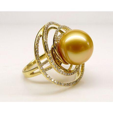 Bague pendentif Or jaune, diamants, perle d'Australie dorée