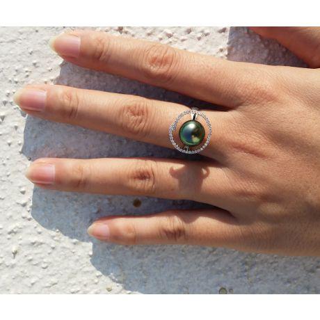 Bague diadème diamanté - Perle de Tahiti verte - Or blanc, diamants