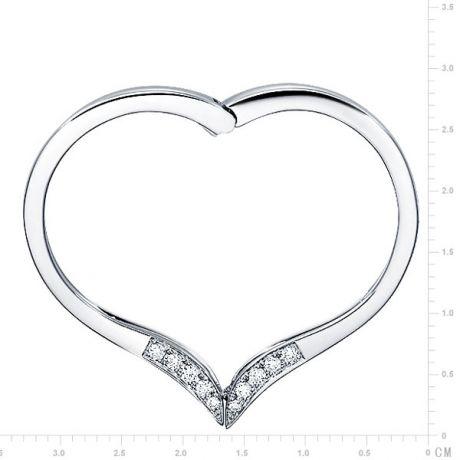 Bague anneau type pendentif - Cœur or blanc diamants 0.32ct