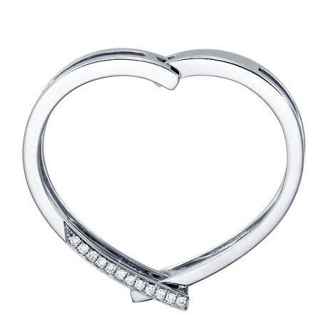 Bague anneau d'exception - Pendentif or blanc diamants forme cœur