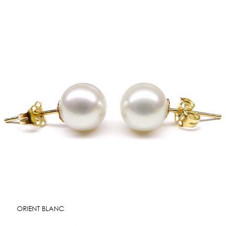 Boucles oreilles or jaune - Clou oreille perles 8/9mm de culture Chine