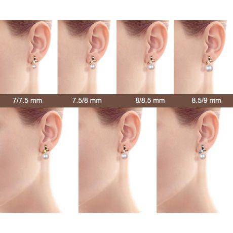 Boucles oreilles perles Akoya. Or blanc, diamants. Rubans, ganses