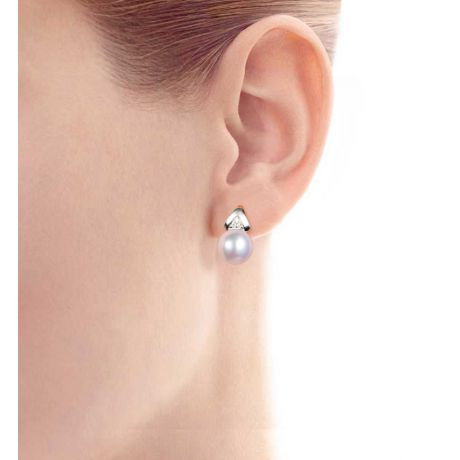 Boucles oreilles triangulaires. Perles Akoya Japon, Or blanc, Diamants