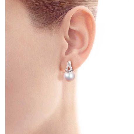Boucles oreilles perles Japon. Pendants Michiko Or blanc, diamants.