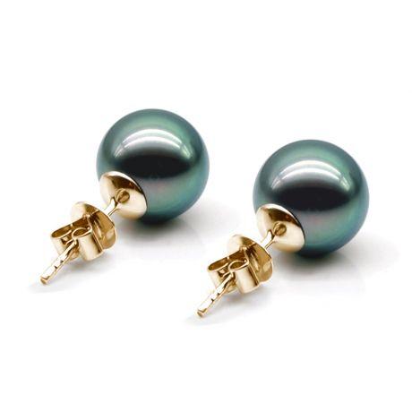 Boucles oreilles clous, or jaune - Perles de Tahiti noires, orient vert - 9/10mm - GEMME