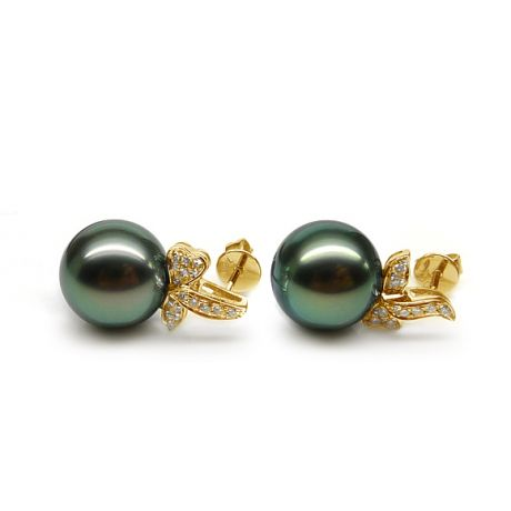 Boucles oreilles perles Tahiti or jaune - Petites oreilles de Bunny