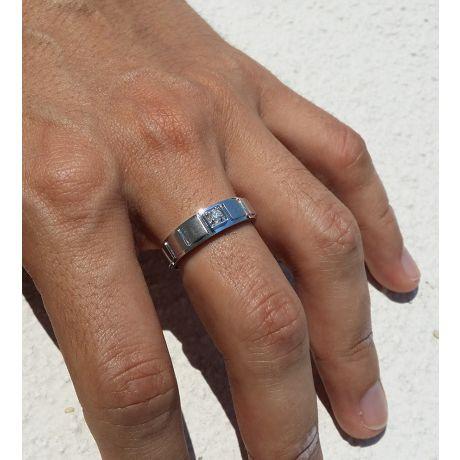 Bague en or homme - Métal or blanc 18cts serti diamant 0.088ct
