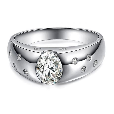 Bague pour homme or blanc 18cts - Mille éclats diamantés 0.84ct