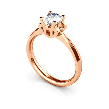 Bague prénom - Lettre H - Diamant, or rose