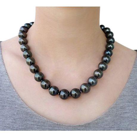 Collier en perles noires de Tahiti - 12/14mm, AAB