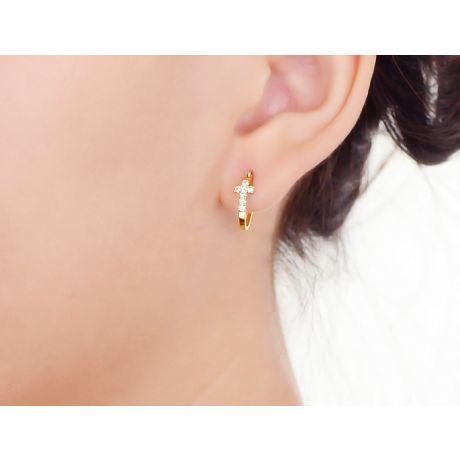 Boucles d'oreilles dormeuses religieuses. Croix diamants Or jaune