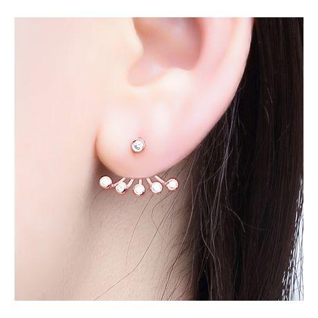 Puces et pendants or rose diamants. Tentacules
