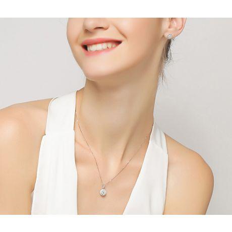Boucles Oreilles Puces Pavées. Diamants 0.80ct fleurs. Or blanc 18cts