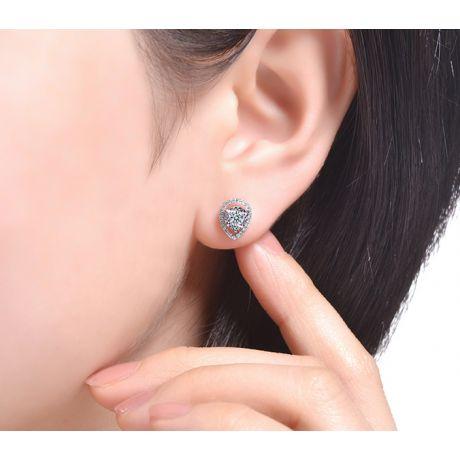 Boucles Oreilles Or blanc diamants 0.32ct. Forme goutte