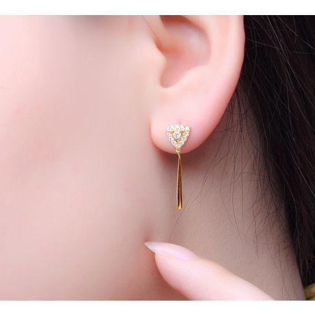 Boucles d'oreilles diamants Or jaune pendantes forme goutte