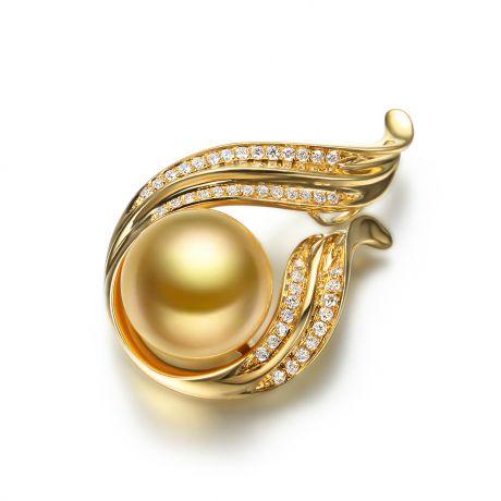 Pendentif Douce Végétale - Perle dorée - Or jaune, diamants