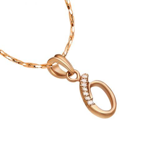 Pendentif 0 - Chiffre zéro - Or rose 18cts et diamants 0.035ct