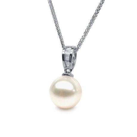 Pendentif diamants rails et perle de culture Chine - Or blanc 18cts