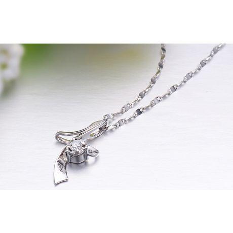 Pendentif diamant Signature - En or blanc 18 carats
