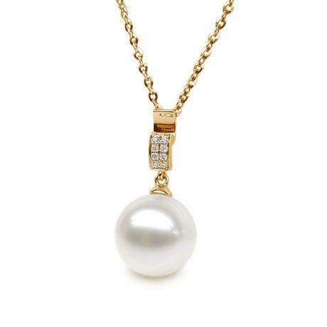 Pendentif bélière pavée 8 diamants - Or jaune, perle culture blanche