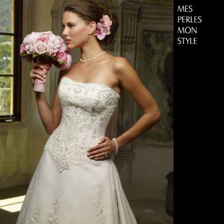 Parure de mariage en perle - Collier pendentif, dormeuses - Or blanc