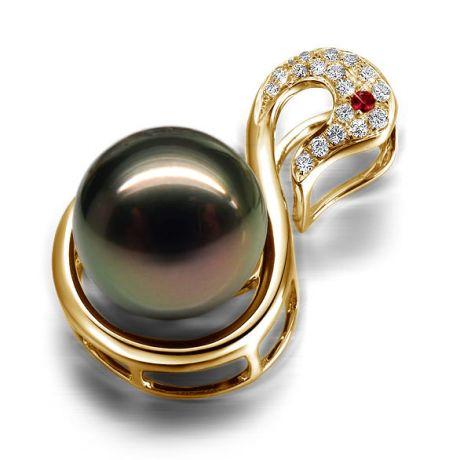 Pendentif cygne or jaune - Perle de Tahiti - Diamants, saphir rose