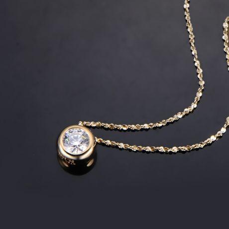 Pendentif solitaire en diamant 0.25ct - Collier or jaune 750/1000