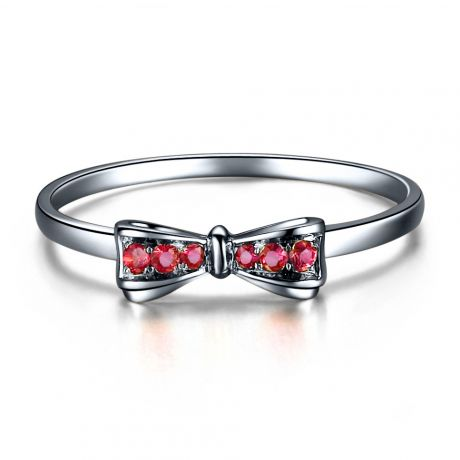 Bague noeud papillon - Or blanc, rubis