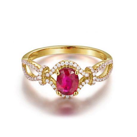 Bague rubis 1 carat or jaune. Diamants sertis
