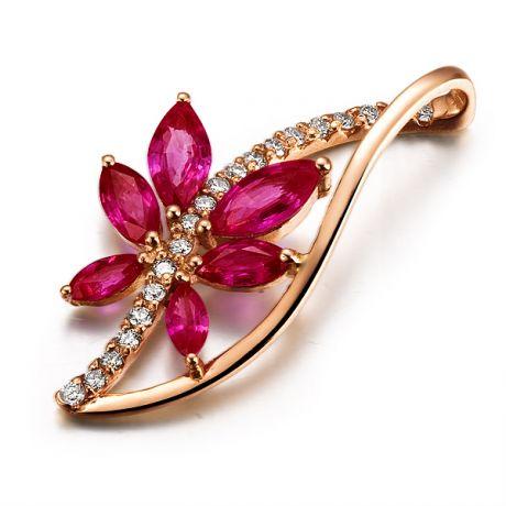 Pendentif rubis fleur grimpante  - Or rose 18 carats et tige diamantée