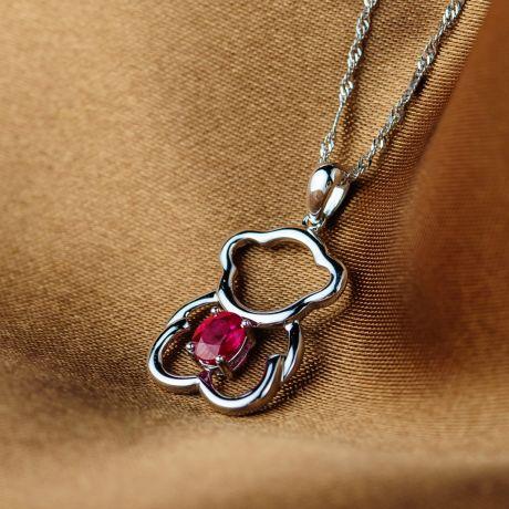 Pendentif or blanc rubis 0.35 carat - Mon petit ourson