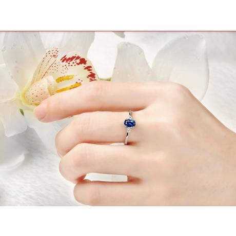 Solitaire Or blanc 18 carats - Diamants et Saphir sertis