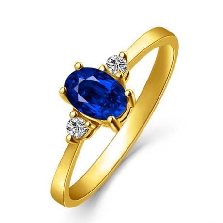 Solitaire Or jaune 18 carats - Diamants et Saphir sertis